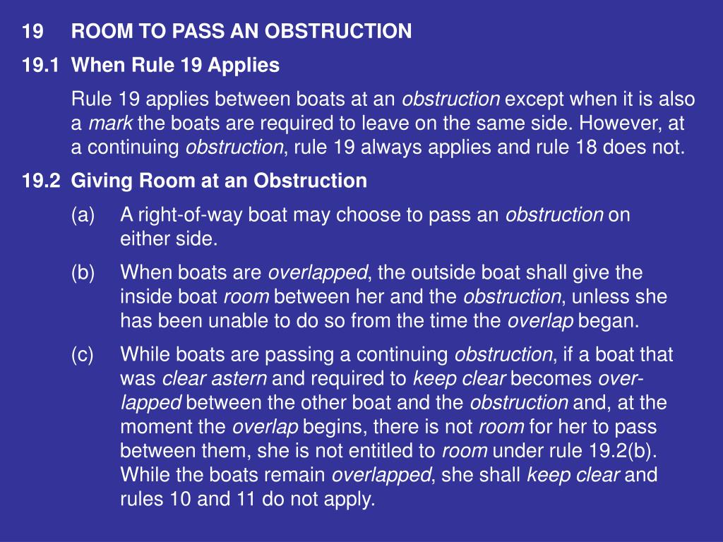 19ROOM TO PASS AN OBSTRUCTION