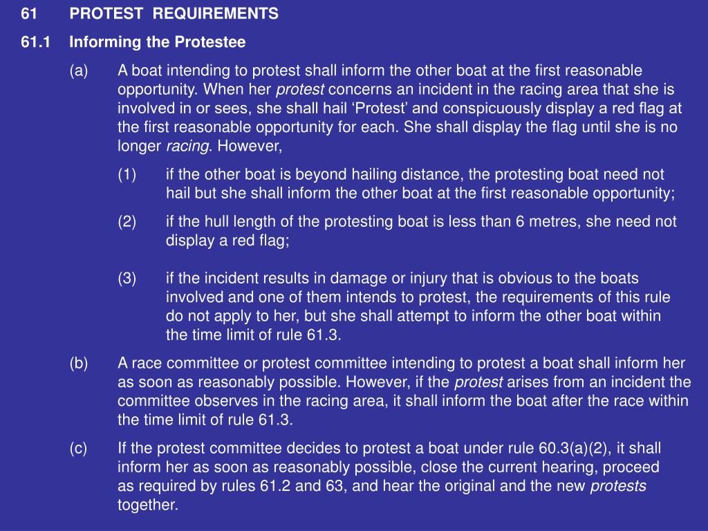61PROTEST  REQUIREMENTS