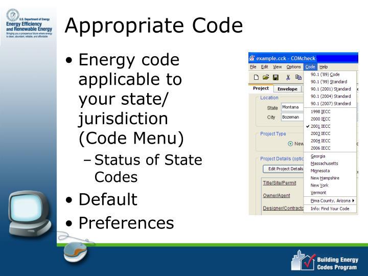 Appropriate Code