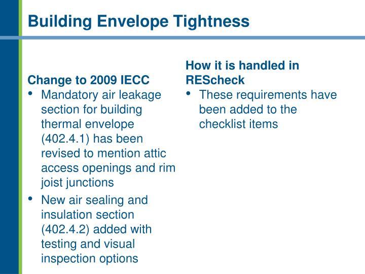Building Envelope Tightness