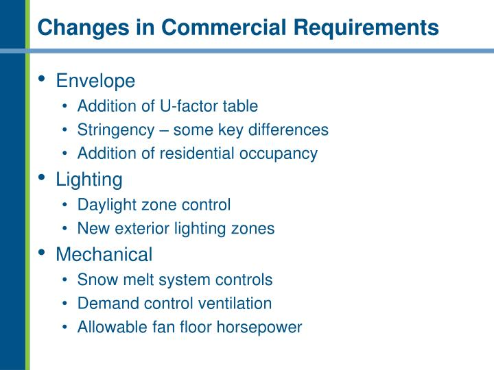 Changes in Commercial Requirements
