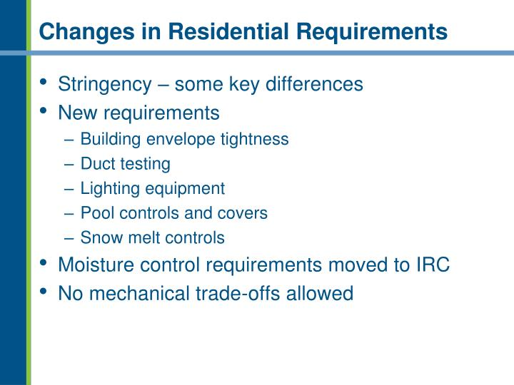 Changes in Residential Requirements