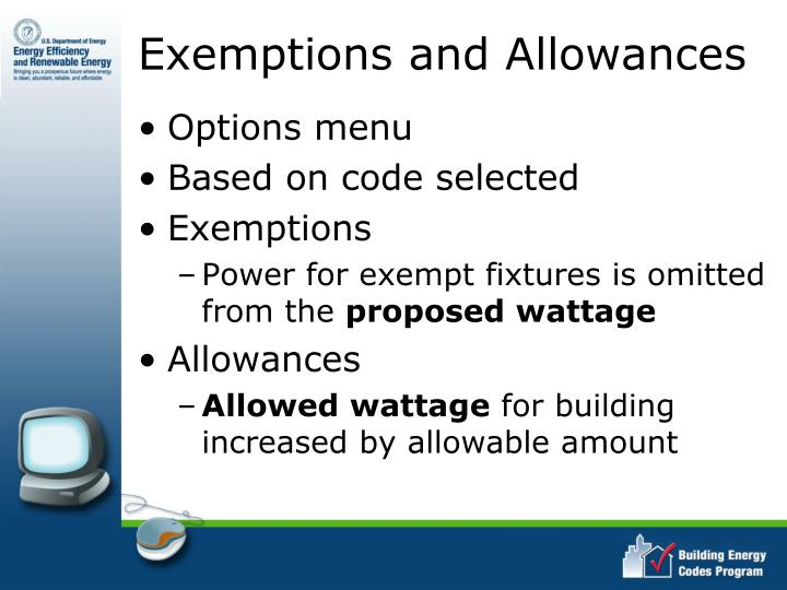 Exemptions and Allowances