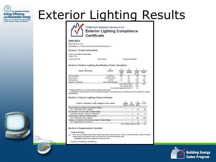 Exterior Lighting Results