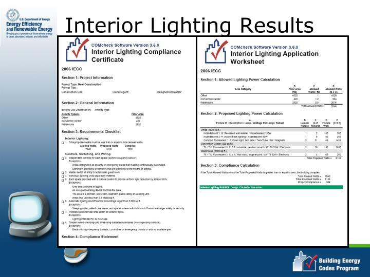 Interior Lighting Results