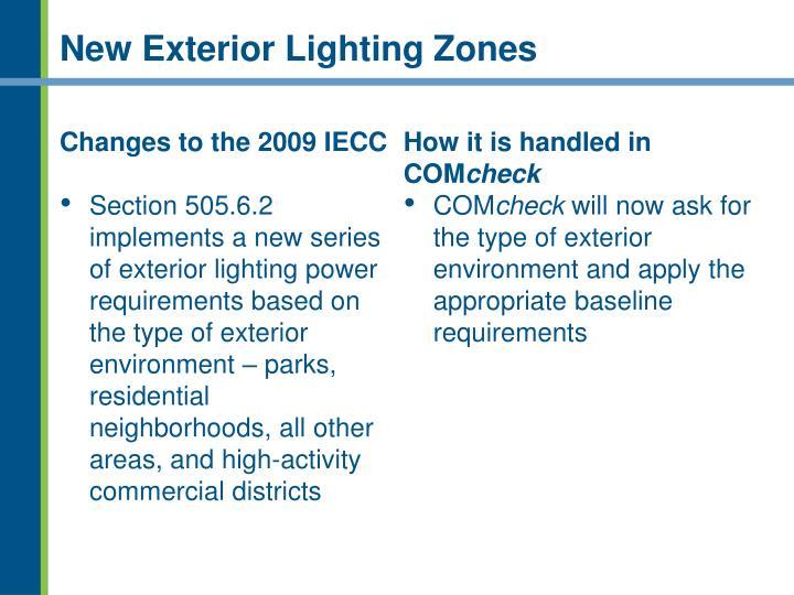 New Exterior Lighting Zones