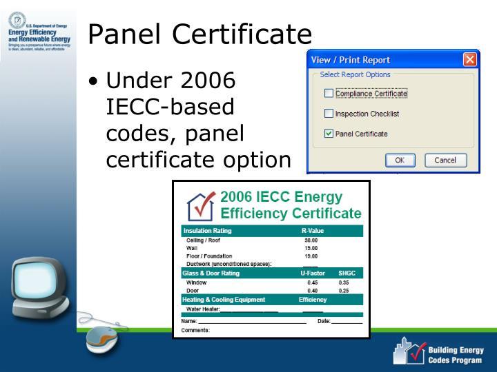 Panel Certificate