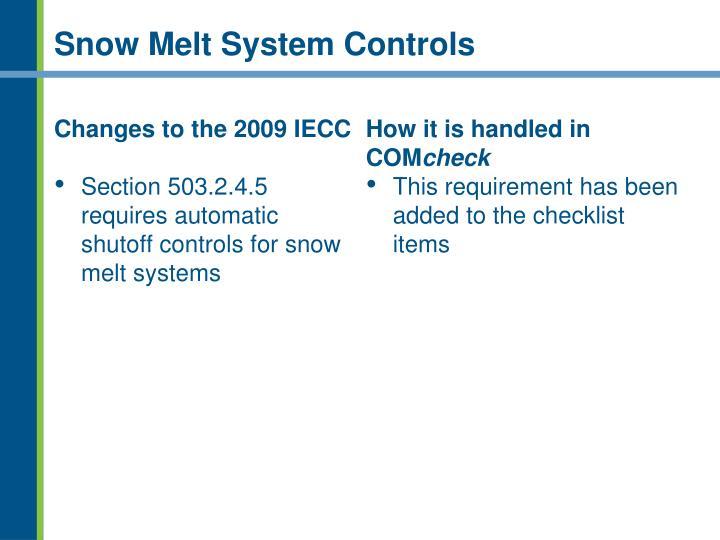 Snow Melt System Controls