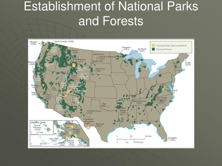 Establishment of National Parks and Forests