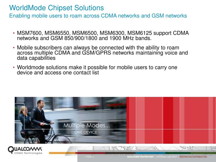 Worldmode chipset solutions enabling mobile users to roam across cdma networks and gsm networks
