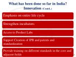what has been done so far in india innovation contd