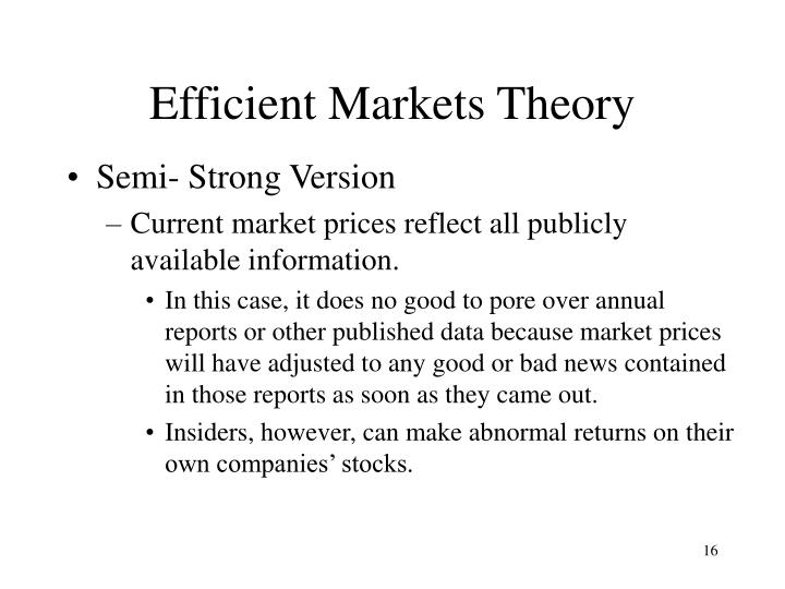Efficient Markets Theory