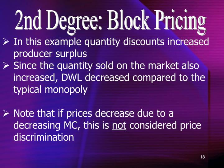 2nd Degree: Block Pricing