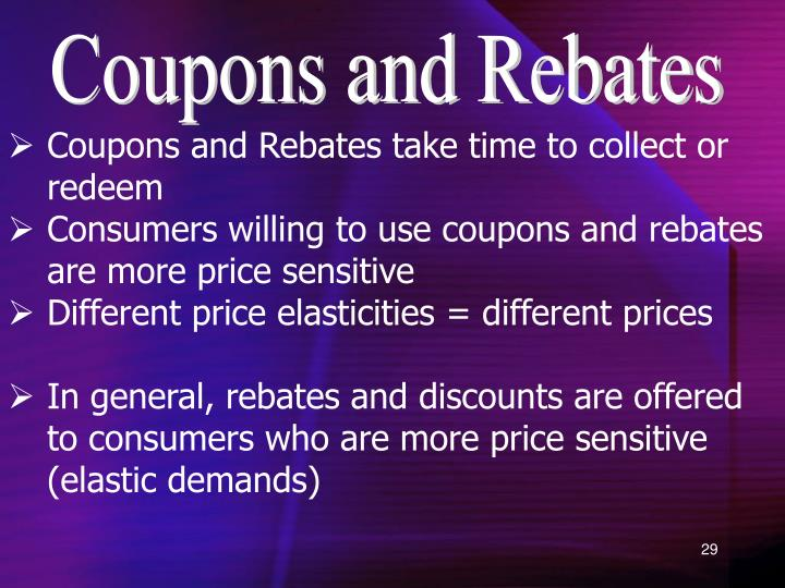 Coupons and Rebates
