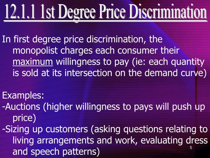 12.1.1 1st Degree Price Discrimination