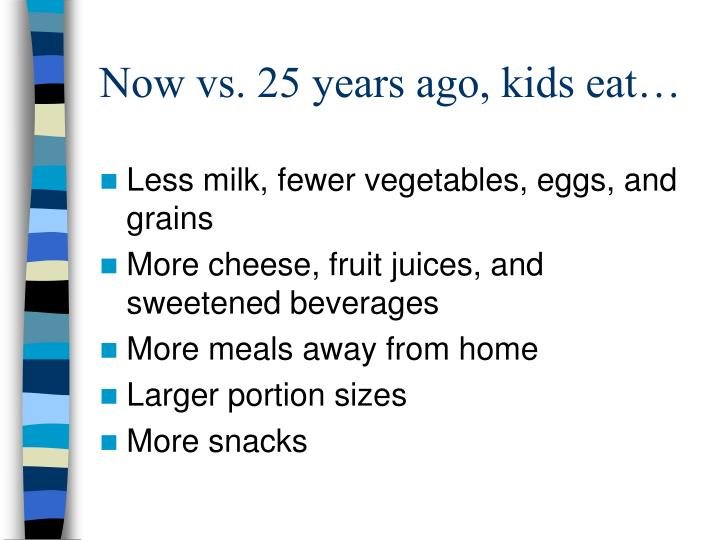 Now vs. 25 years ago, kids eat…