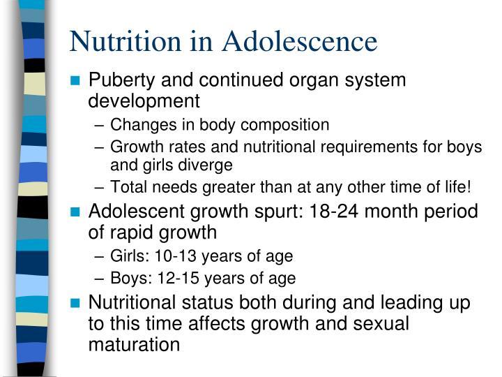 Nutrition in Adolescence