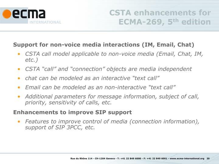 CSTA enhancements for