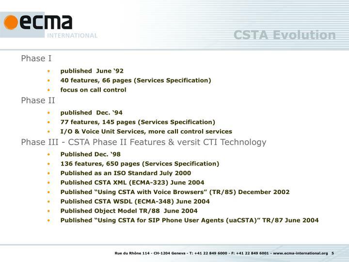 CSTA Evolution