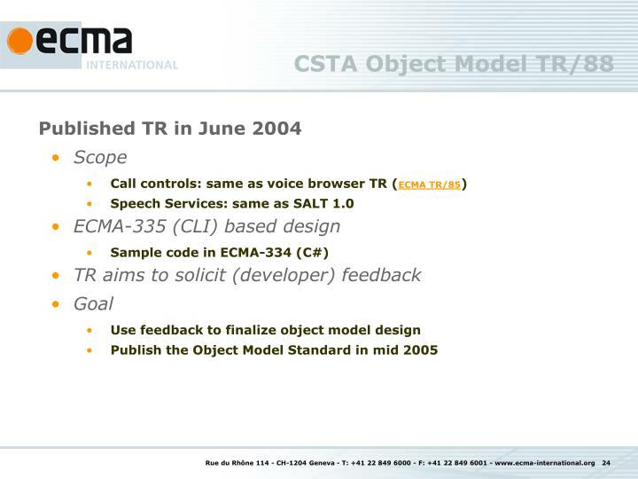 CSTA Object Model TR/88