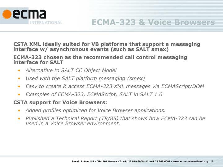 ECMA-323 & Voice Browsers