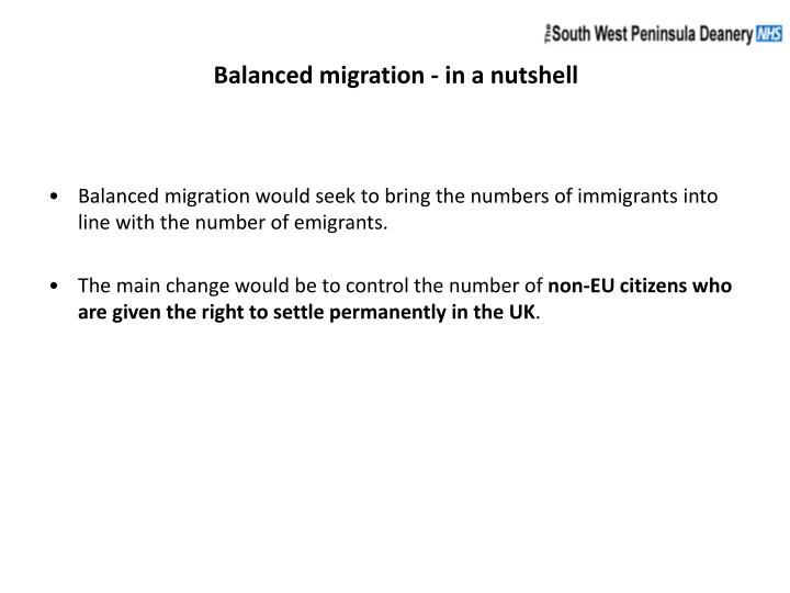 Balanced migration - in a nutshell
