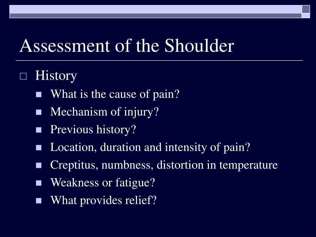 Assessment of the Shoulder