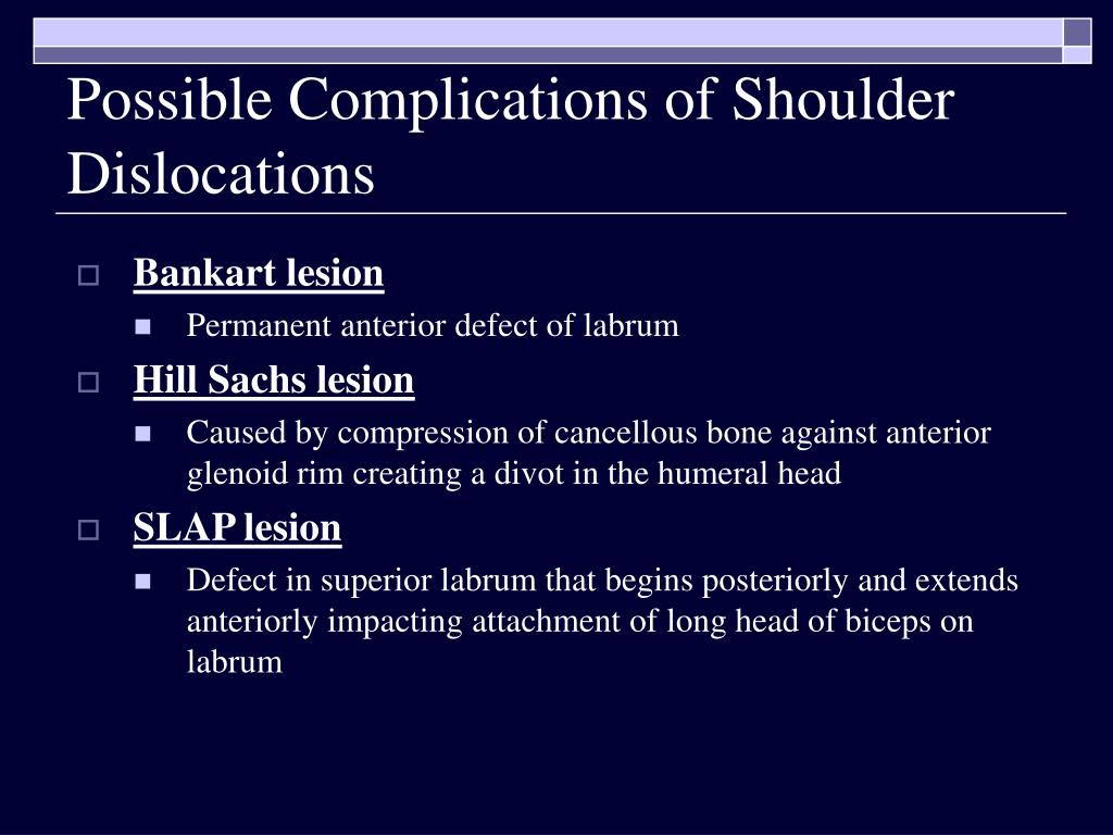 Possible Complications of Shoulder Dislocations