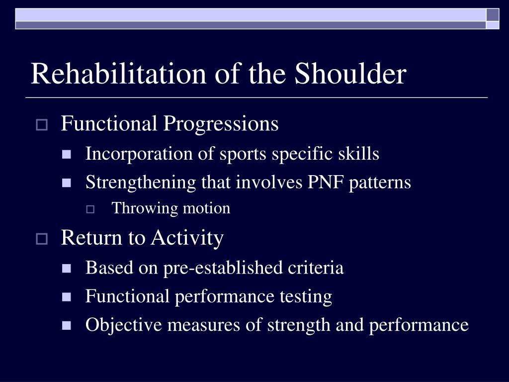 Rehabilitation of the Shoulder