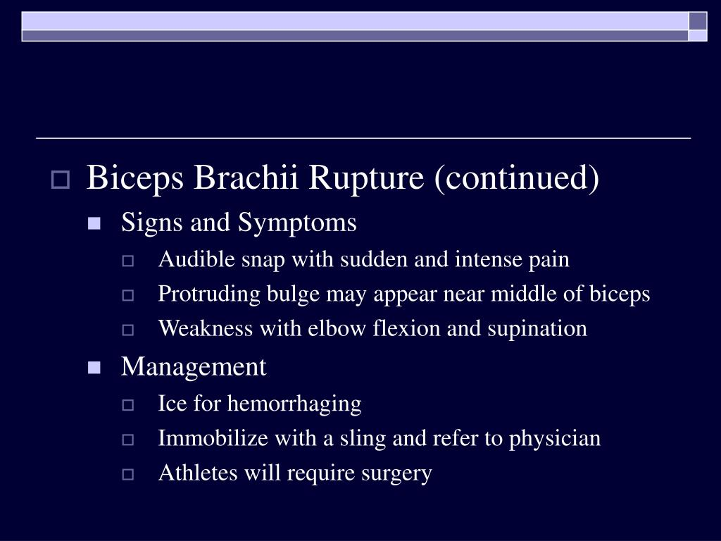 Biceps Brachii Rupture (continued)