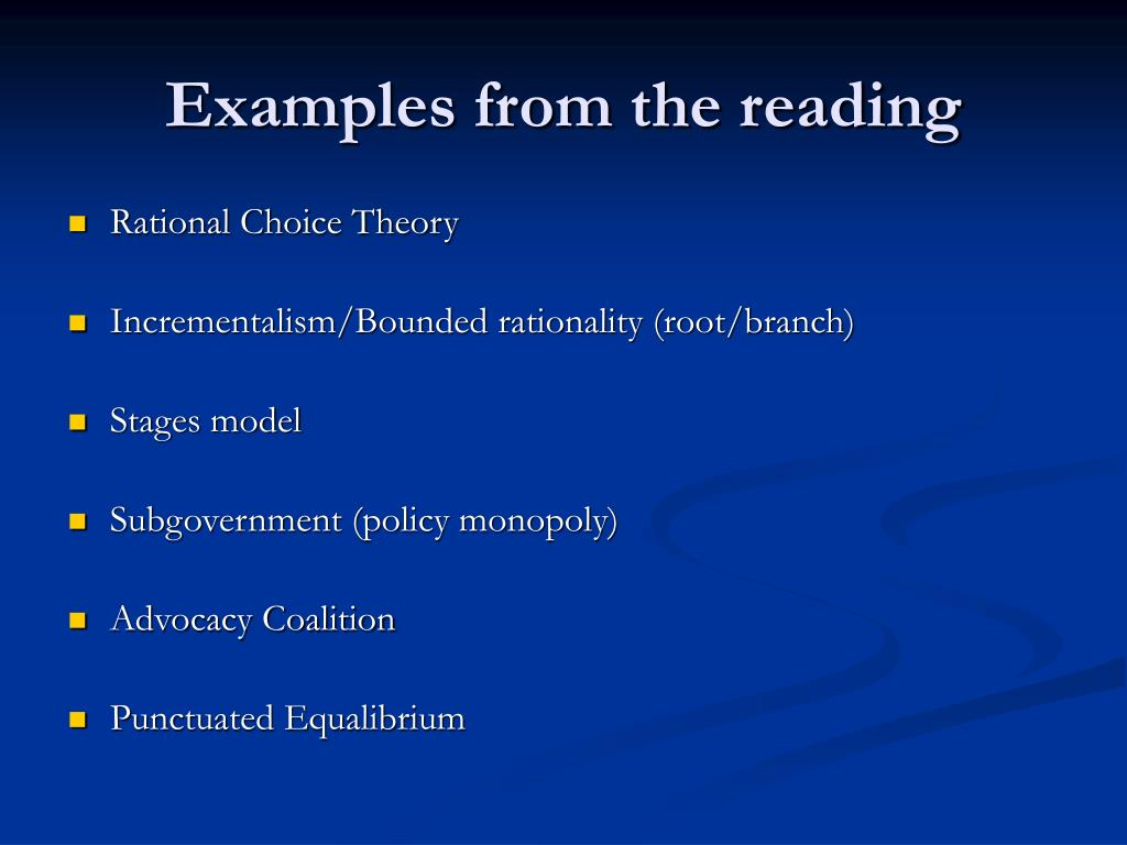 Examples from the reading