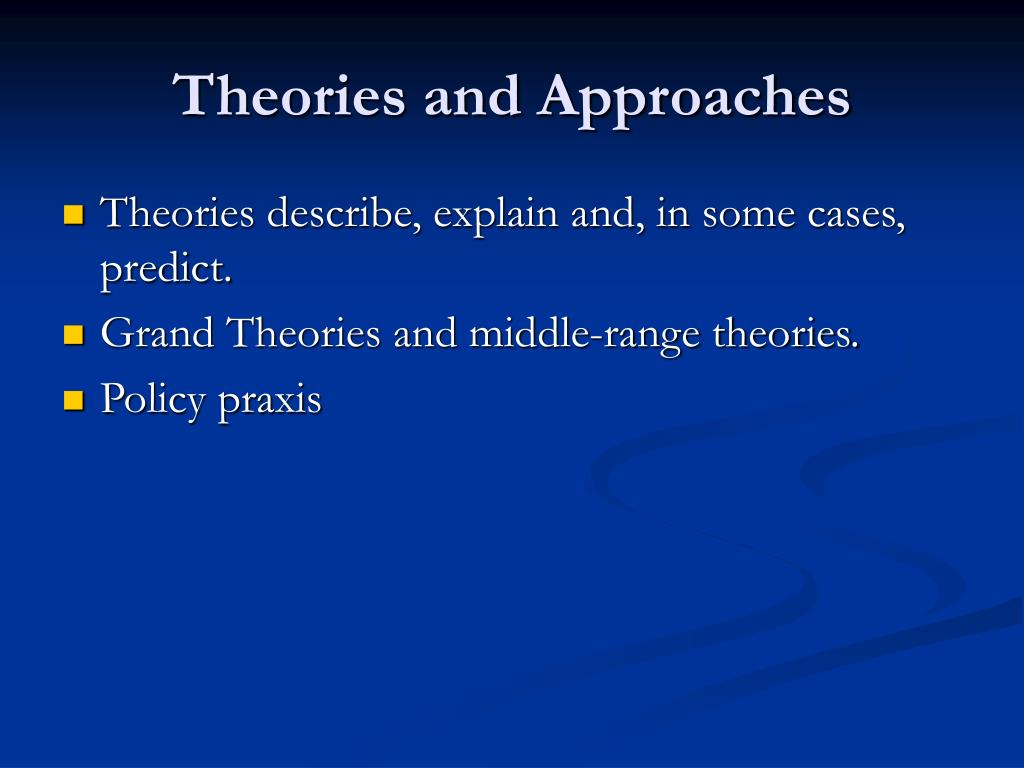Theories and Approaches