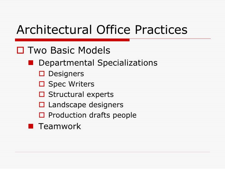 Architectural Office Practices