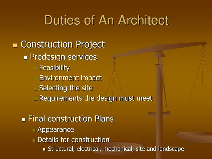 Duties of An Architect