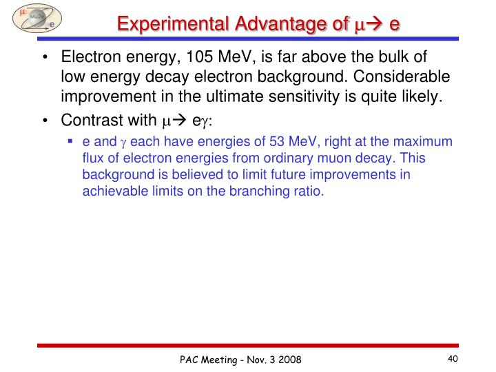 Experimental Advantage of