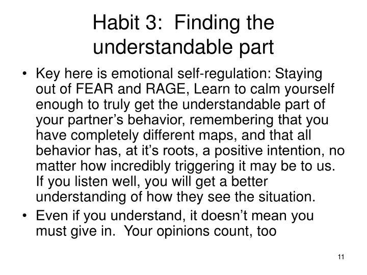 Habit 3:  Finding the understandable part