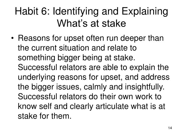 Habit 6: Identifying and Explaining What's at stake
