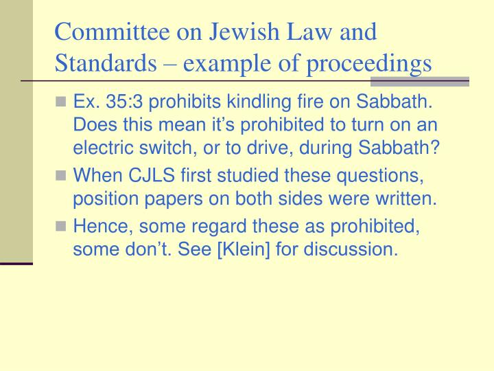 Committee on Jewish Law and Standards – example of proceedings