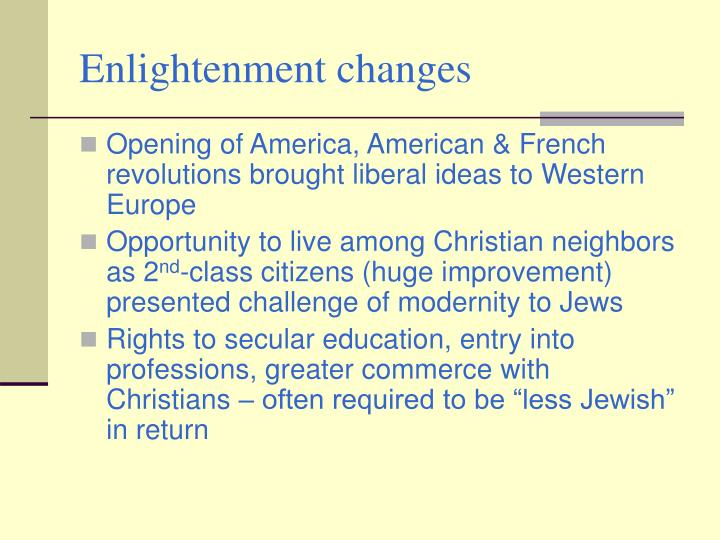 Enlightenment changes