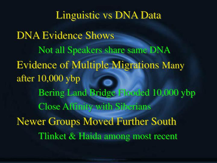 Linguistic vs DNA Data
