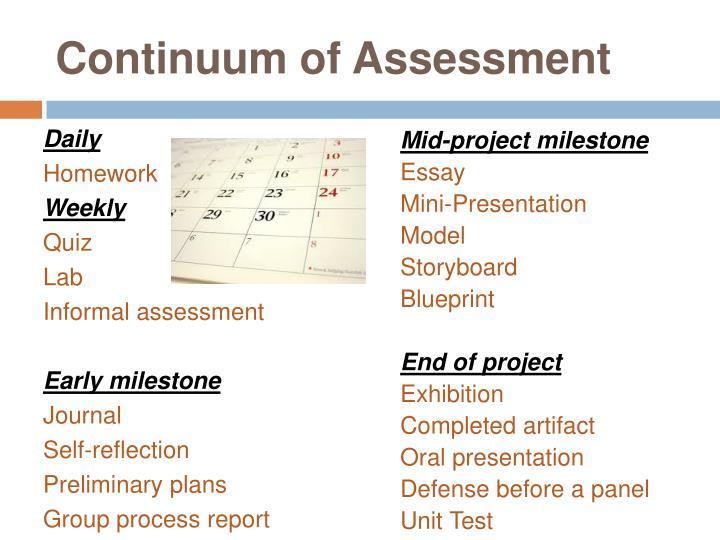 Continuum of Assessment