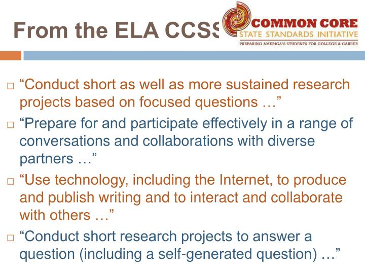 From the ELA CCSS….