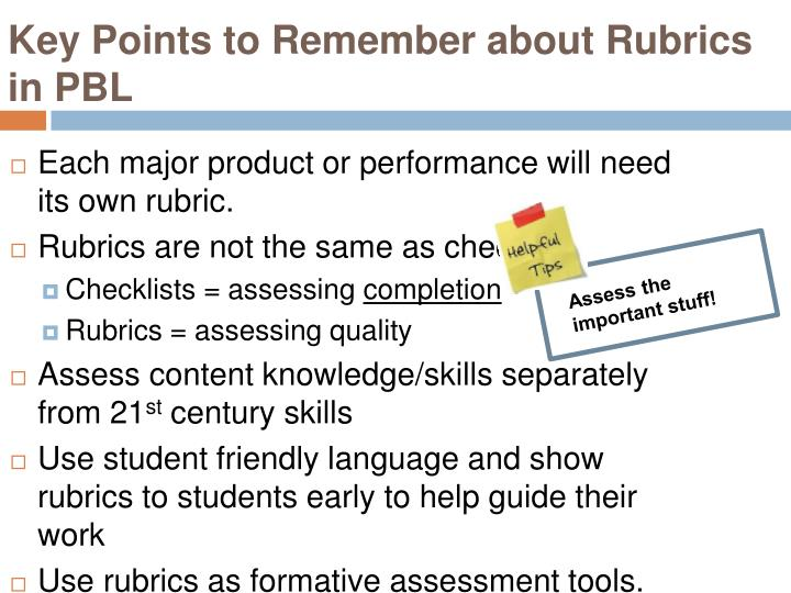 Key Points to Remember about Rubrics in PBL