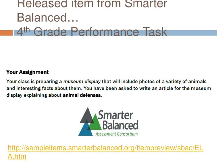 Released item from Smarter Balanced…