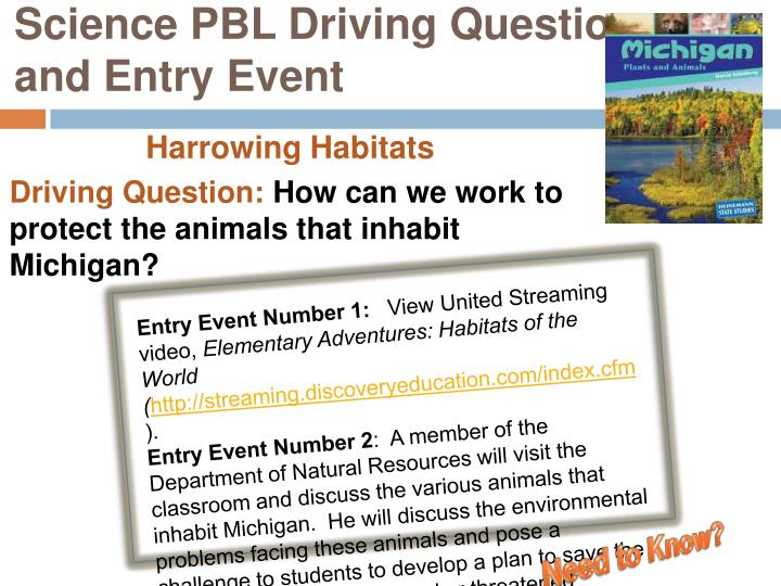 Science PBL Driving Question