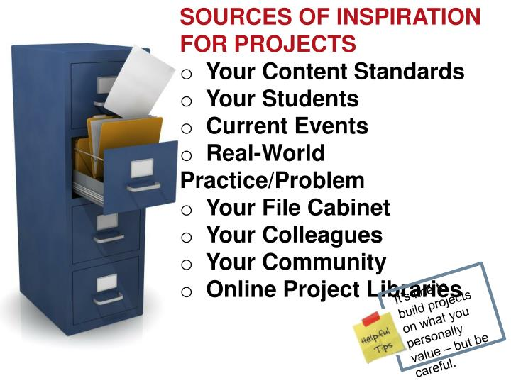 SOURCES OF INSPIRATION  FOR PROJECTS