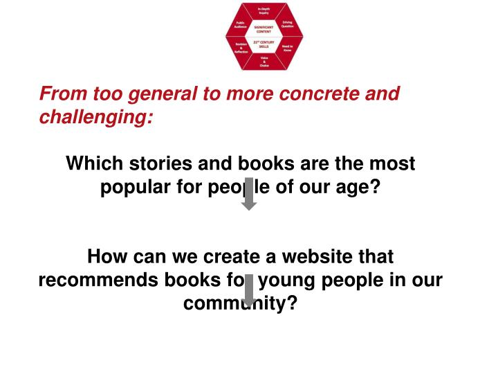 From too general to more concrete and challenging:
