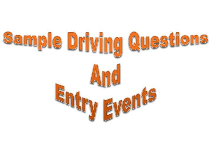 Sample Driving Questions