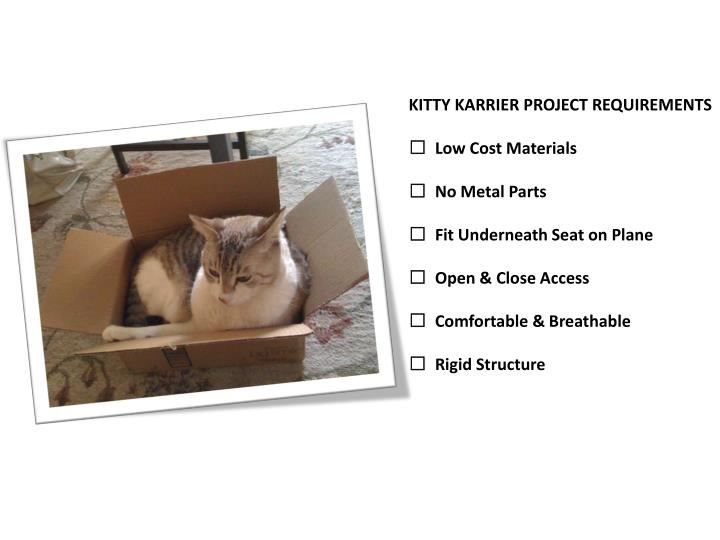 KITTY KARRIER PROJECT REQUIREMENTS