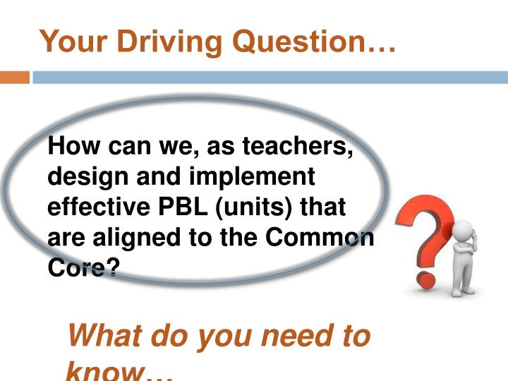 Your Driving Question…